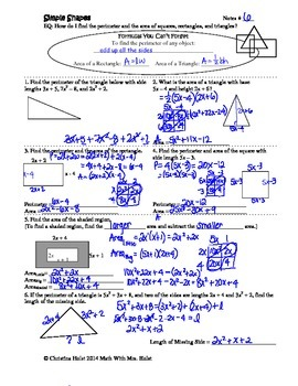 Applications of Adding, Subtracting and Multiplying Polynomials Guided Notes
