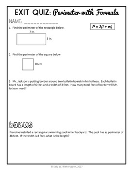 Finding Perimeter with Formula, 8 page Lesson Packet + Quiz, 4.MD.B.4