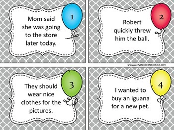 Finding Personal Pronouns Task Cards