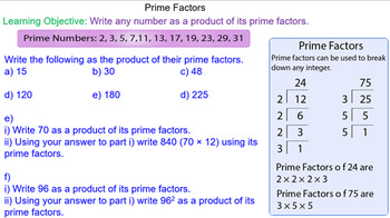Finding Prime Factors Grade 6 Math Lesson