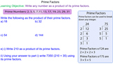 Finding Prime Factors Grade 6 Math Lesson