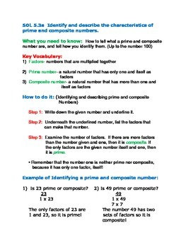 Finding Prime and Composite Numbers up to 100(Common Core 4.0A)