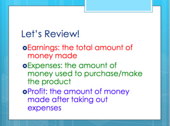 Finding Profit Word Problems Powerpoint TEKS 4.10B
