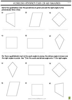 Finding Properties In 2D Shapes Worksheet - Grade 4 Geometry (4.G.2)