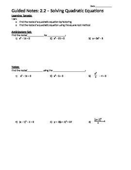 Finding Quadratic Roots Using the Square Root Method - Notes