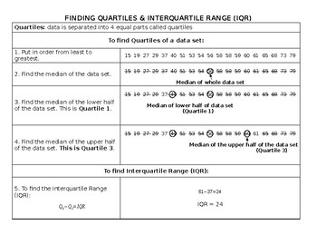 Finding Quartiles & Interquartile Range Notes