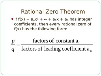 Finding Rational Zeros