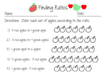 Finding Ratios:  3 Worksheets with an apple theme