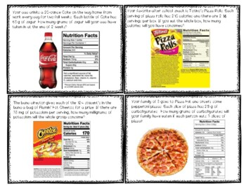 Finding Ratios Using Snack Food Nutrition Labels - 6th grade RP A1-A3 & NS.B.2/3
