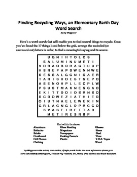 Finding Recycling Ways, an Elementary Earth Day Word Search