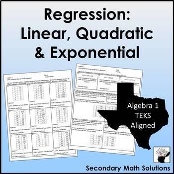 Finding Regression Equations Mixed Practice (A4A, A4C, A8B, A9E)