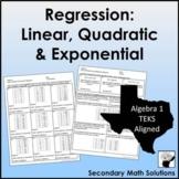 Finding Regression Equations Mixed Practice (A4A, A4C, A8B, A9E, 2A.8A, 2A.8B)