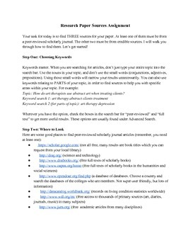Finding Research Paper Sources Handout