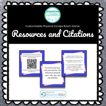Finding Resources and Creating Citations Breakout Game (Customizable Files)