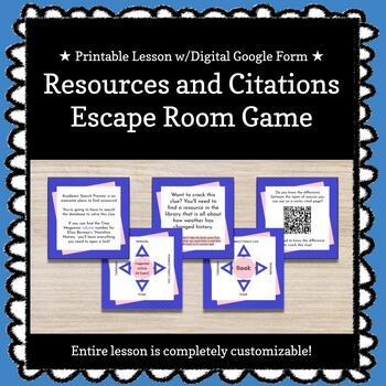 Resources &  Citations Customizable Escape Room / Breakout Game