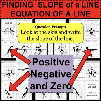 Finding SLOPE OF A LINE Positive Negative and Zero 30 Task Cards Algebraic