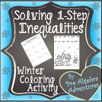 Christmas Pre Algebra Activity{Christmas Pre-Algebra}{Solving Inequalities Color