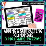 Adding and Subtracting Polynomial Digital Matching Pages
