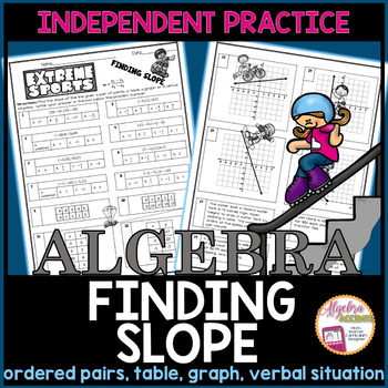 Finding Slope From Tables Graphs And Points Practice Worksheet Tpt