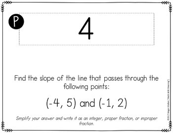 Finding Slope from Multiple Representations Scavenger Hunt Activity