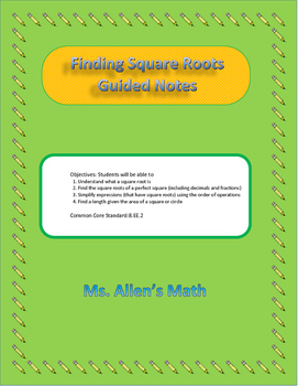 Finding Square Roots Guided Notes