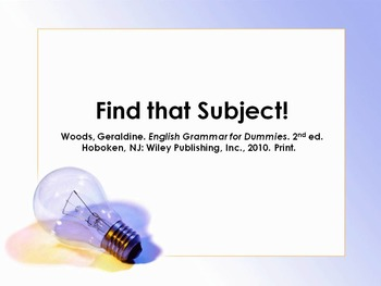 Finding Subject-Verb Pairs Powerpoints (2), Guided Notes and Assignments