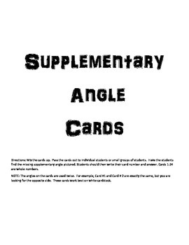 Finding Supplementary Angle Cards
