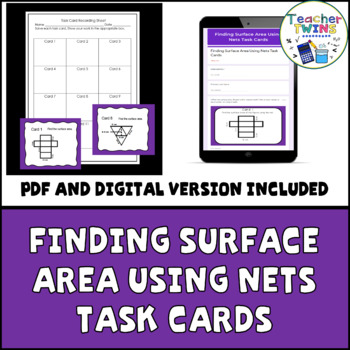 Finding Surface Area Using Nets Task Cards