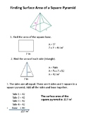 Finding Surface Area of a Square Pyramid