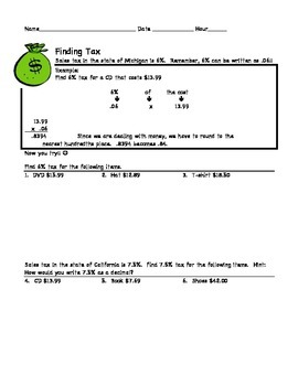 Finding Tax Worksheet