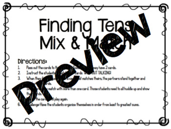 Finding Tens Mix and Match
