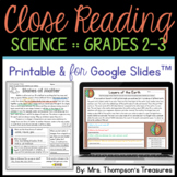 Reading Comprehension Passages & Finding Text Evidence - SCIENCE