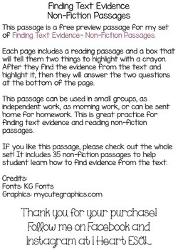 FREE Finding Text Evidence Veterans Day Passage