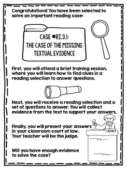 Finding Textual Evidence - A Courtroom & Detective Themed Lesson for Any Reading
