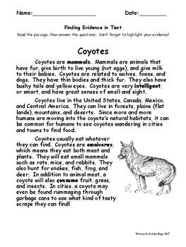Finding Textual Evidence - Coyote Passage