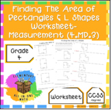 Finding The Area Of A Rectangles & L Shapes Worksheet - Measurement (4.MD.3)