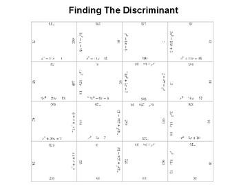 Finding The Discriminant Fun Square Puzzle Activity
