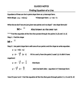 Finding The Equation of Lines