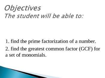 Finding The Greatest Common Factor (PPT)