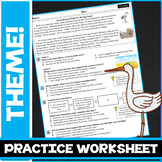 Finding The Theme & Details:  ELA Practice Worksheet / Exi