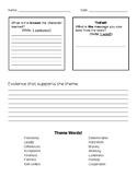 Finding Theme Organizer & Paragraph Frame