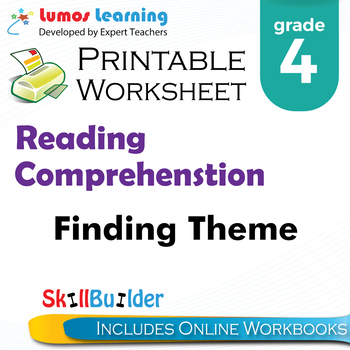 Finding Theme Printable Worksheet, Grade 4