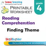 Finding Theme Printable Worksheet, Grade 4