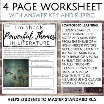 Finding Theme Worksheet for Secondary ELA