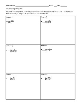 trig limits worksheet with answers kidz activities. Black Bedroom Furniture Sets. Home Design Ideas