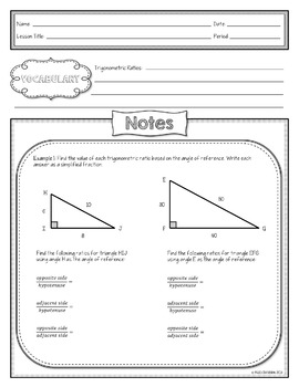 Finding Trigonometric Ratios Sine Cosine Tangent Lesson Materials (Notes CW HW)