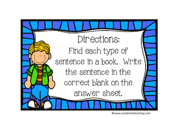 Finding Types of Sentences in Books Freebie