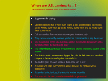 Finding U.S. Landmarks on a map - 50 questions with answers appearing on the map