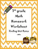 Finding Unit Rates Homework Worksheet