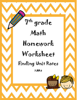 Finding Unit Rates Homework Worksheet